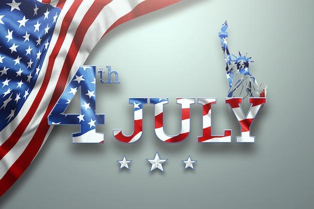 Inscriptie 4 juli op een lichte achtergrond