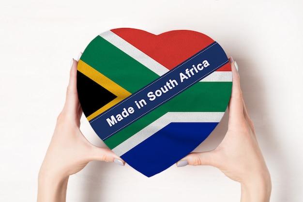 Inscriptie gemaakt in zuid-afrika de vlag van zuid-afrika