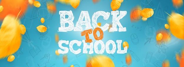 Inscriptie terug naar school, elementen van het onderwijs. flyer, poster te koop