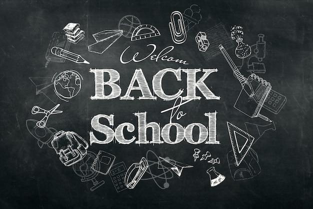 Inscriptie terug naar school, krijt krabbel achtergrond op blackboard