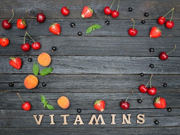 Inscriptie vitaminen en fruit frame