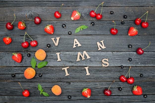 Inscriptie vitaminen en fruitst