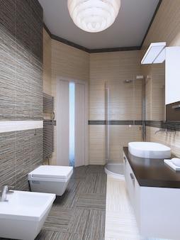 Inspiratie voor een heldere, minimalistische badkamer. interieur met licht contrast. 3d render