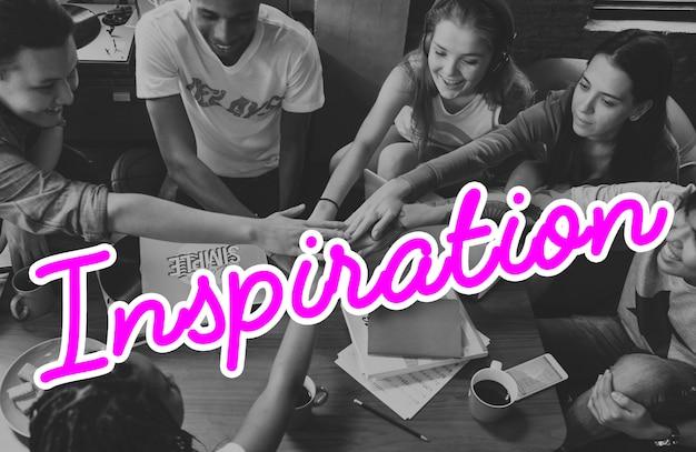 Inspireer inspiratie positiviteit woord concept
