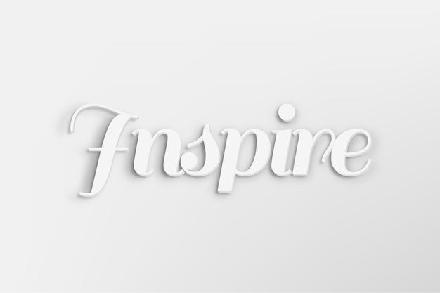 Inspireer woord in witte 3d-tekststijl