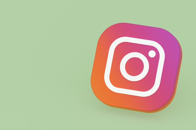 Instagram applicatie logo 3d-rendering op groene achtergrond