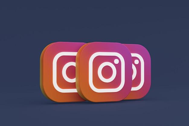 Instagram applicatie logo 3d-rendering op zwarte achtergrond