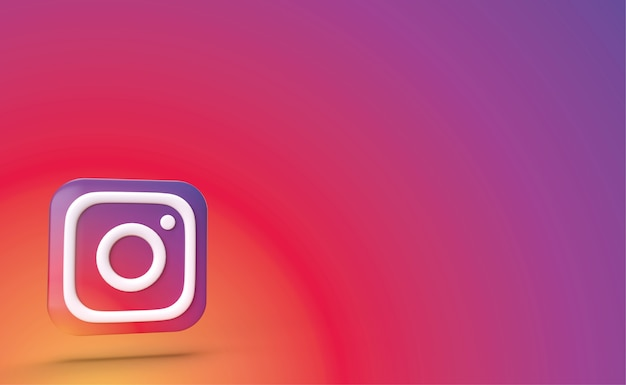 Instagram backgraund 3d render, social media-logo