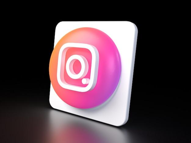 Instagram cirkel knoppictogram 3d premium foto 3d glanzende matte weergave