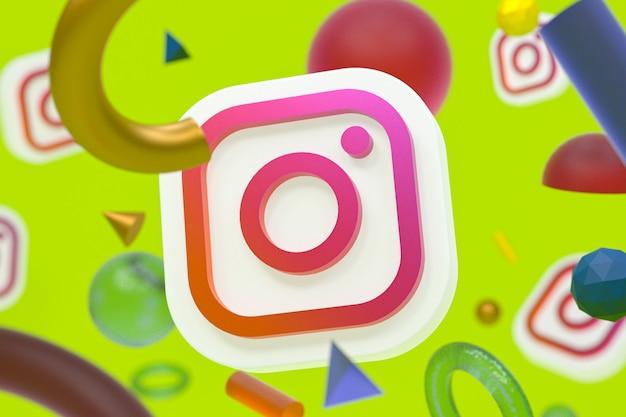 Instagram ig-logo op abstracte geometrische achtergrond