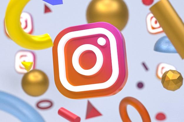 Instagram-logo op abstracte geometrie achtergrond