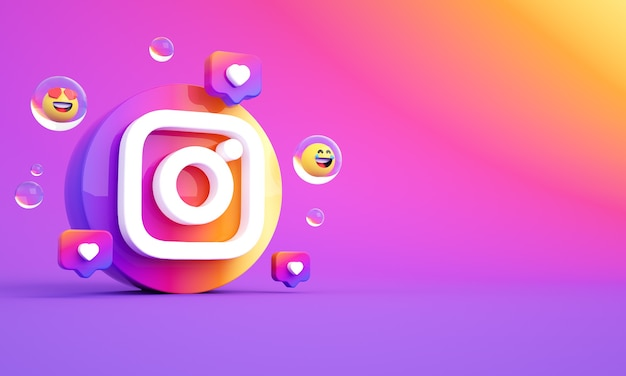 Instagram logo pictogram kopieer ruimte premium foto