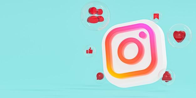 Instagram-logo van acrylglas ig en social media-iconen met kopie ruimte