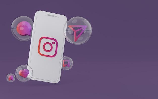 Instagram-pictogram op scherm mobiele telefoon 3d render