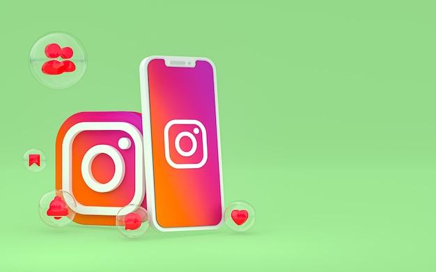 Instagram-pictogram op scherm smartphone of mobiel en instagram reacties 3d render