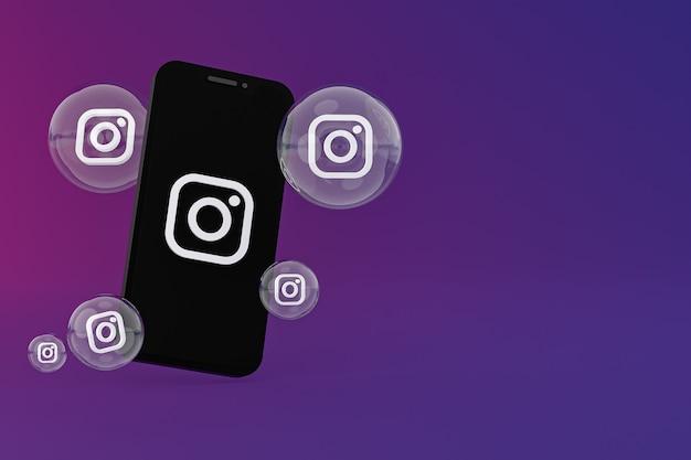 Instagram-pictogram op scherm smartphone of mobiel en instagram-reacties houden van 3d render op paarse achtergrond