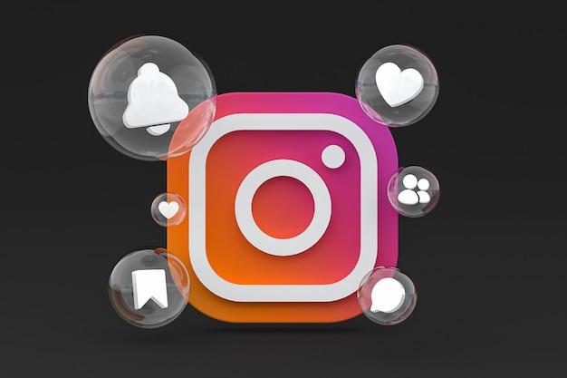 Instagram-pictogram op scherm smartphone of mobiele telefoon 3d render