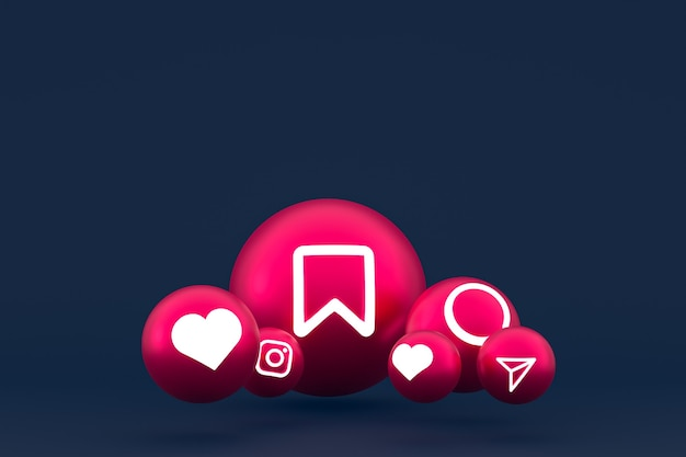 Instagram pictogrammenset 3d-rendering op blauwe achtergrond