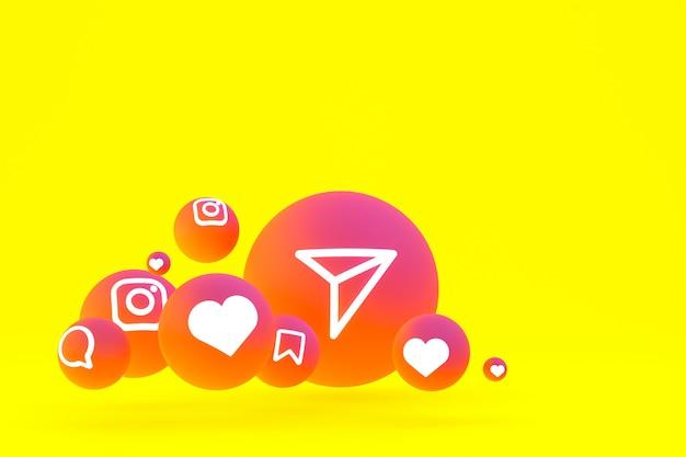 Instagram pictogrammenset 3d-rendering op gele achtergrond