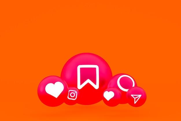 Instagram pictogrammenset 3d-rendering op oranje achtergrond
