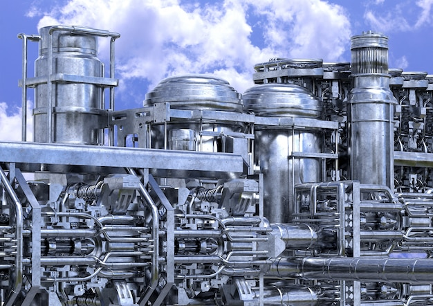 Installatie van olieraffinaderijen. petrochemische industrie apparatuur close-up buitenshuis.