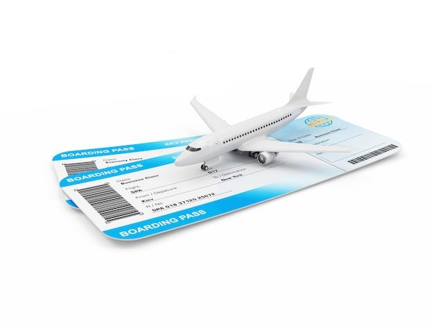 Instapkaartjes met passagiersvliegtuig
