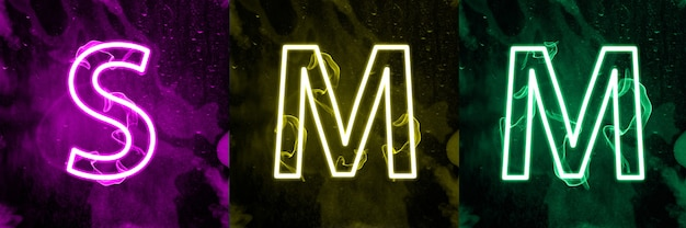 Interacties van sociale media in kleurrijk neonlicht. digitale internetmarketing, de term van de moderne massamedia.