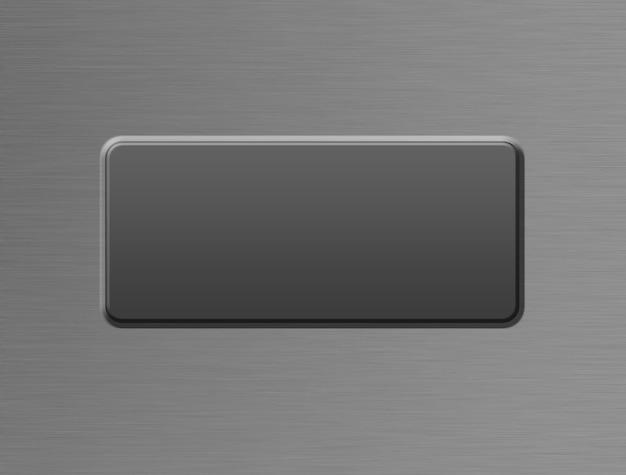 Interessante illustratie van een schoon metalen oppervlak met een knop met een kopieerruimte