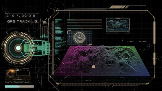 Interface voor gps-tracking en positiedetectie, weergave van 3d-afbeeldingen