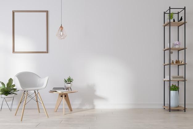 Interieur blanco fotolijst in woonkamer