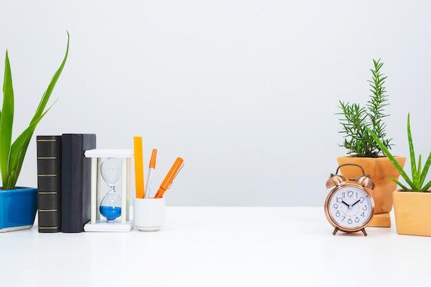 Interieur bureau met boek, plantenpot en rozemarijn sierplant.