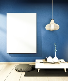 Interieur chinese stijl donkerblauw kamer interieur. 3d-weergave