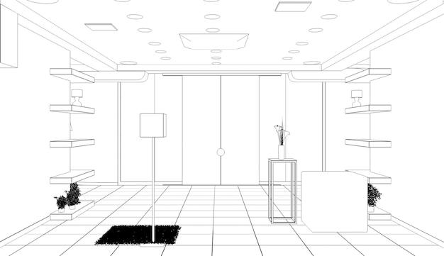 Interieur contour visualisatie 3d illustratie schets schets