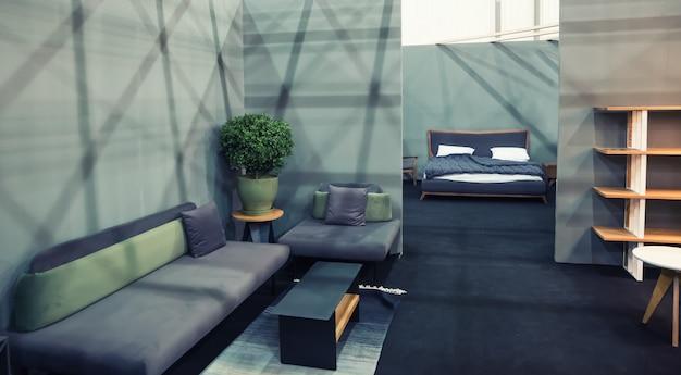 Interieur decoratie kamer, decor studio. vlak meubelconcept