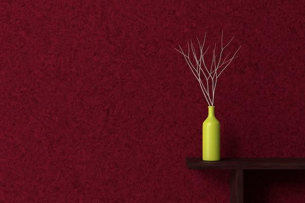 Interieur design behang. 3d-weergave.