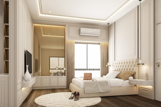 Interieur design moderne klassieke stijl van slaapkamer met witte spay verf hout en gouden textuur en witte meubels set 3d-rendering interieur