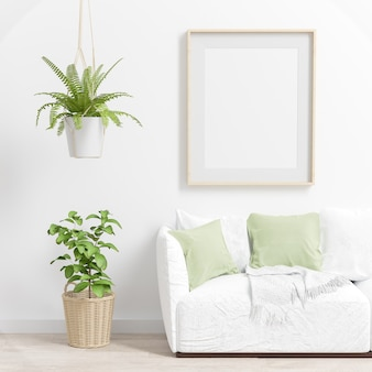 Interieur frame mockup met groene planten en een bank. 3d-weergave.