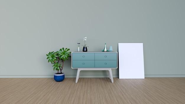 Interieur kamer met leeg frame, 3d render