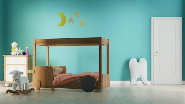 Interieur kinderkamer met bed. 3d-weergave