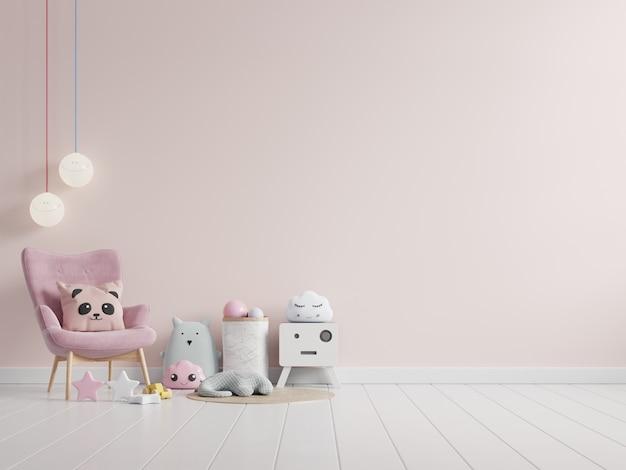 Interieur kinderkamer met lichtroze kleurmuur en decoratie. 3d-weergave
