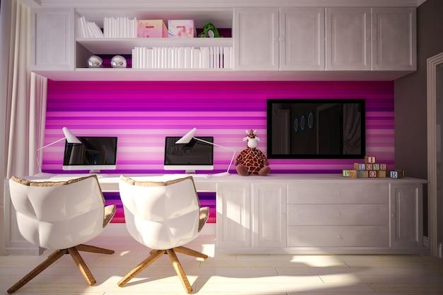 Interieur kinderslaapkamer in moderne stijl