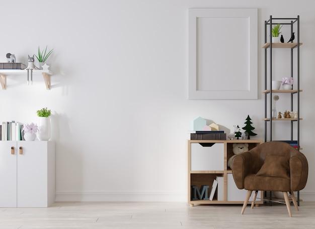 Interieur leeg posterframe in woonkamer