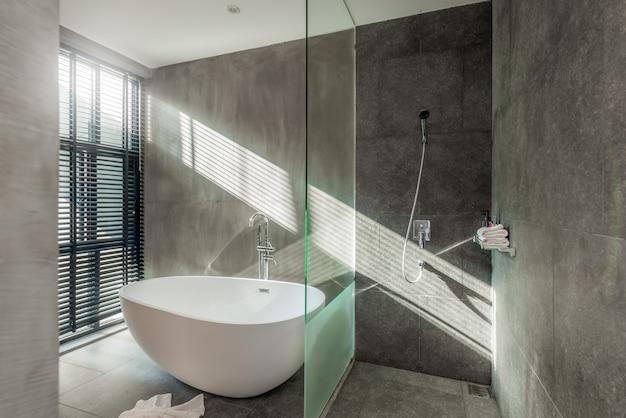 Interieur loftstijl in luxe badkamer voorzien van ligbad, toilet in huis
