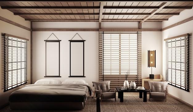Interieur luxe moderne japanse stijl slaapkamer mock-up, ontwerpen van de mooiste. 3d-rendering