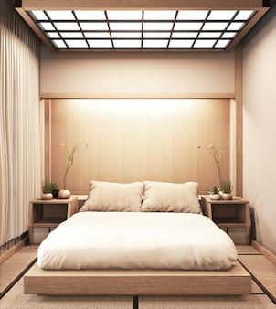 Interieur luxe slaapkamer in moderne japanse stijl mock-up, de mooiste ontwerpen. 3d-weergave