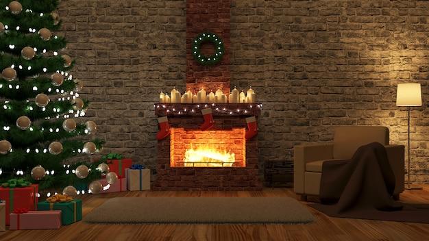 Interieur met brandende open haard en verschillende accessoires voor kerstvakantie 's nachts