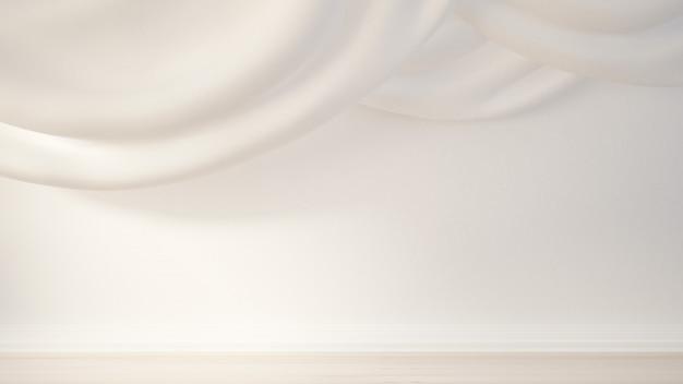 Interieur met draperie en gordijn. 3d-weergave.