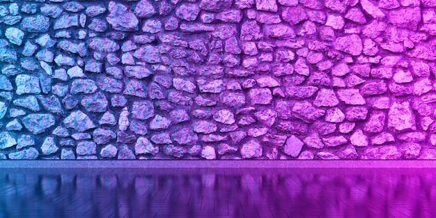 Interieur met een stenen muur voor het hele frame in neonlicht, 3d illustratie