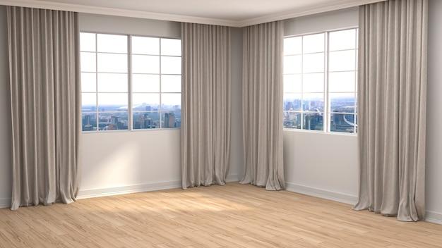 Interieur met groot raam. leeg interieur