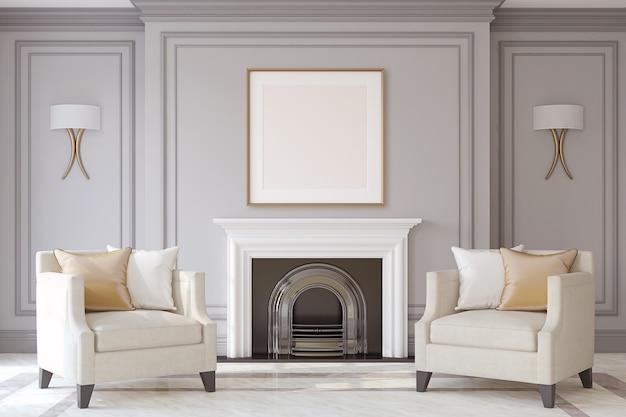 Interieur met open haard in neoklassieke stijl. frame mock-up. 3d render.